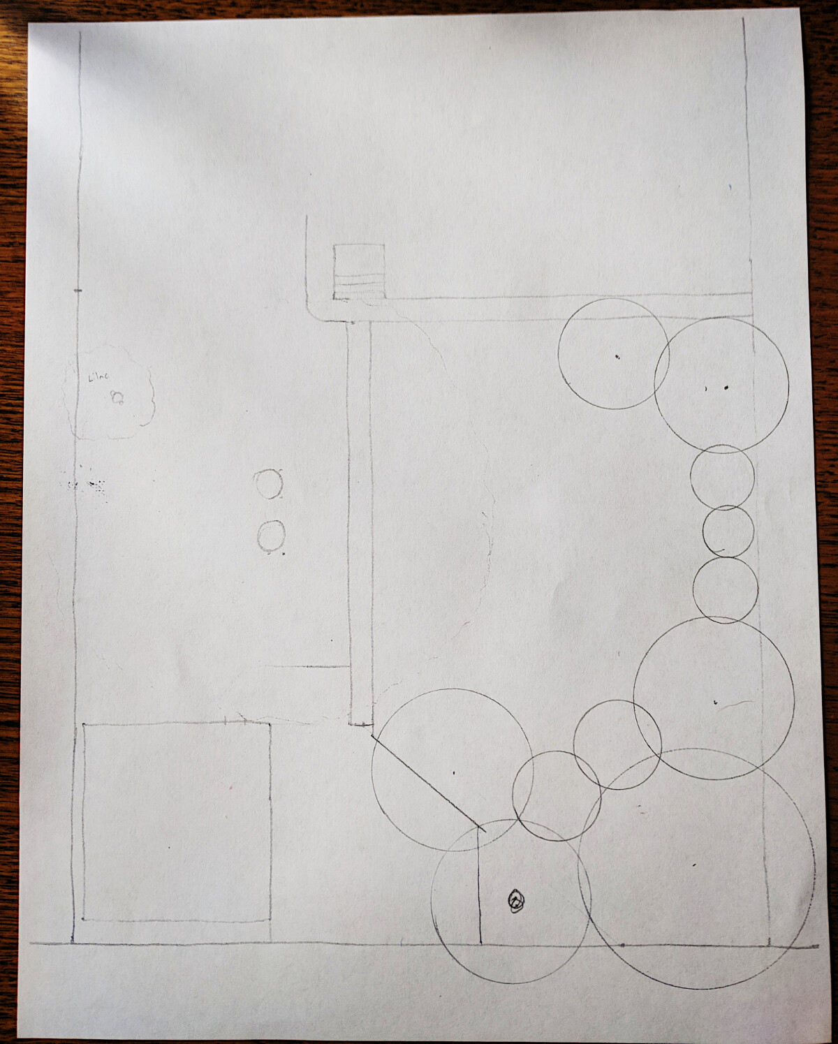 Sketch of the back area of the lot