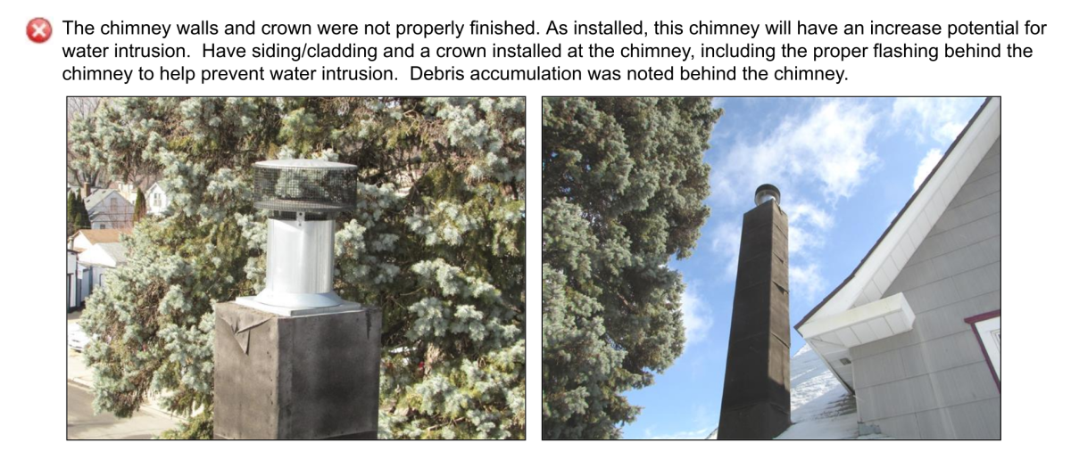 Page of the inspection report detailing issues with chimney